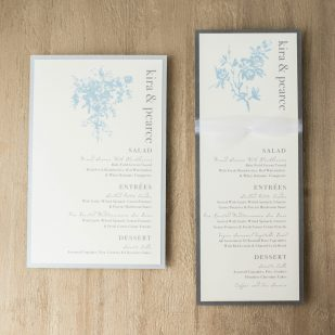 Elegant Blue Flat Menu Cards