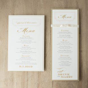 Elegant Ivory Flat Menu Cards