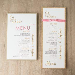 Gold & Glitter Flat Menu Cards