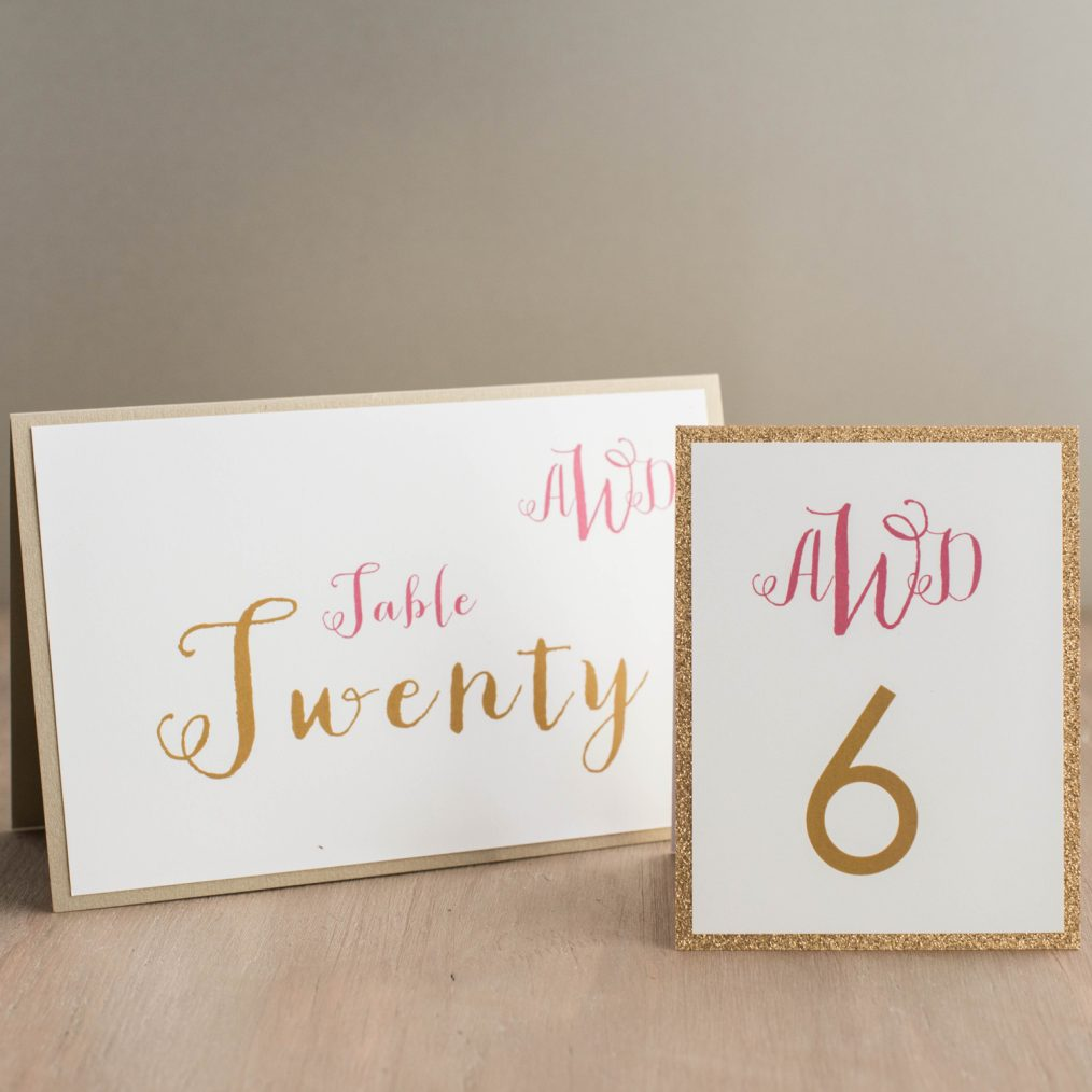 Gold and Glitter Tented Table Numbers