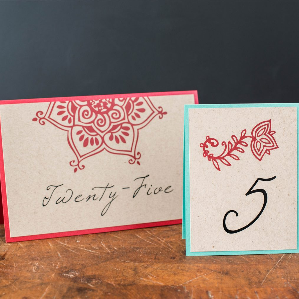 Henna Love Tented Table Numbers