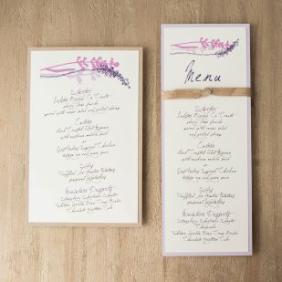 Lavender in Love Flat Menu Cards
