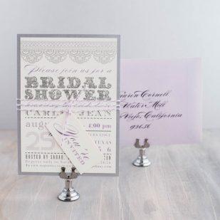 Lace Lavender Bridal Shower Invitations