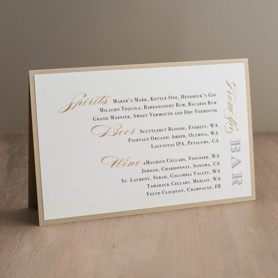 Modern Black & White Customizable Tented Wedding Menus