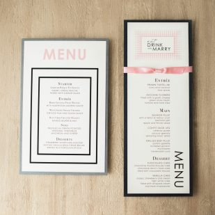 Modern Lace Flat Menu Cards