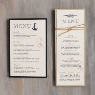 Nautical Bliss Flat Menu Cards