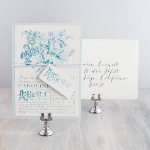 Floral Pale Blue Bridal Shower Invitations