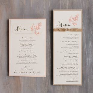 Peach Love Birds Flat Menu Cards
