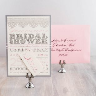 Lace Baby Pink Bridal Shower Invitations