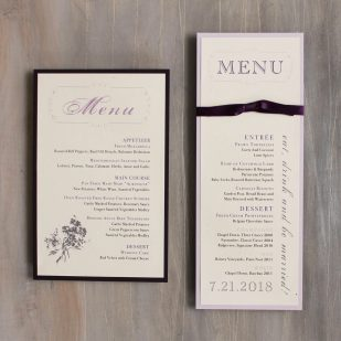 Purple Charmer Flat Menu Cards
