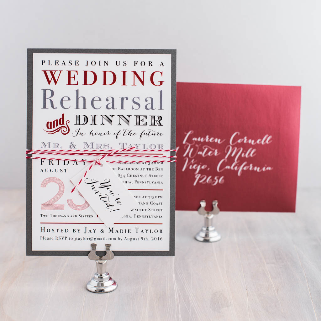 Customizable Crimson Red Rehearsal Invites | Beacon Lane
