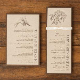 Rustic Magnolia Flat Menu Cards