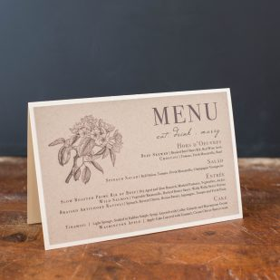 Rustic Magnolia Tented Menu Cards