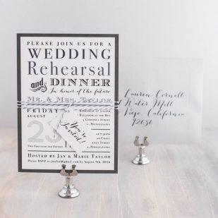 Gray Rehearsal Dinner Invitations