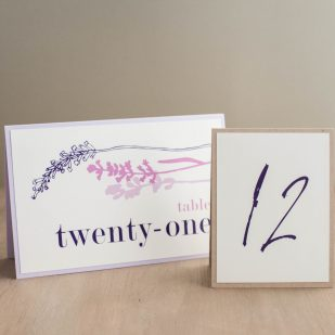 Lavender in Love Tented Table Numbers