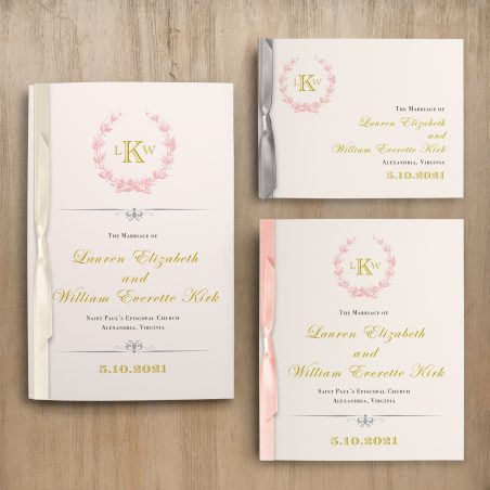 Gold And Blush Monogram Ceremony Booklet