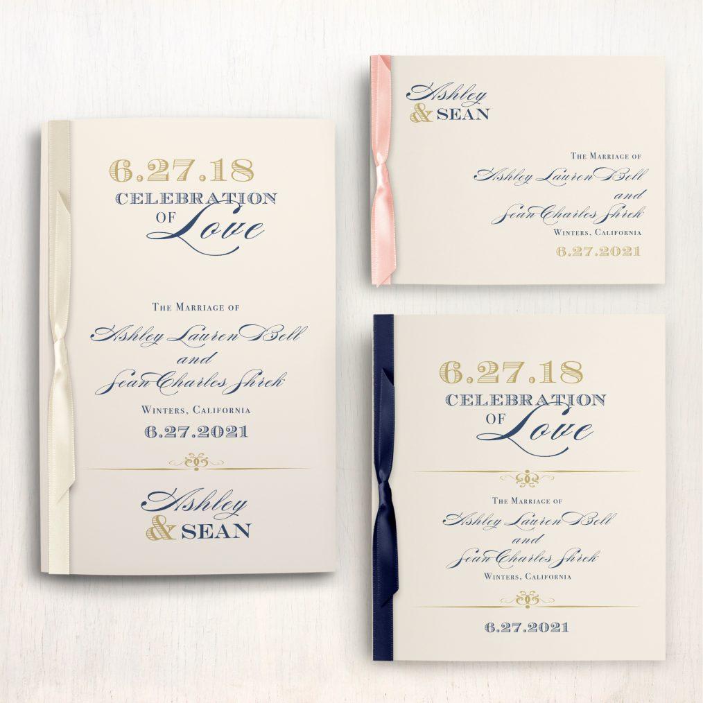 Elegant Navy Script Ceremony Booklet