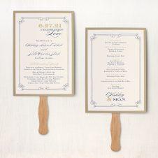 Elegant Navy Script Ceremony Fans