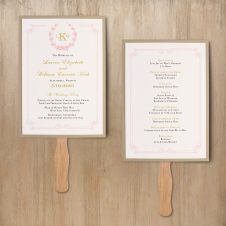 Gold and Blush Monogram Ceremony Fans