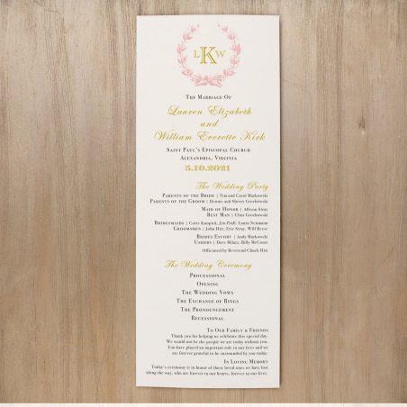 Gold And Blush Monogram Flat Ceremony Programs