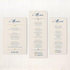 Elegant Navy Script Flat Menu Cards