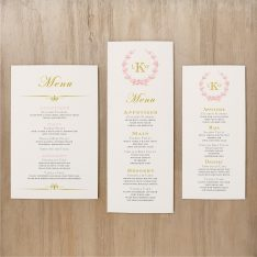 Gold and Blush Monogram Flat Menu Cards