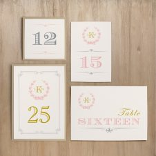 Gold and Blush Monogram Flat Table Numbers