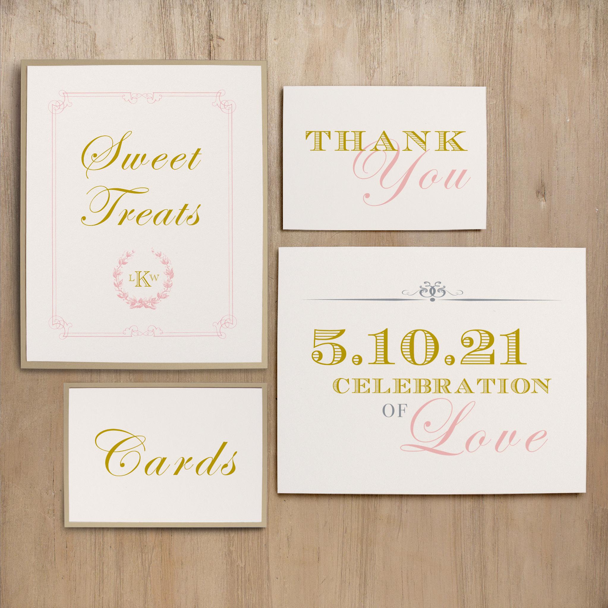 Gold and Blush Monogram Custom Signs