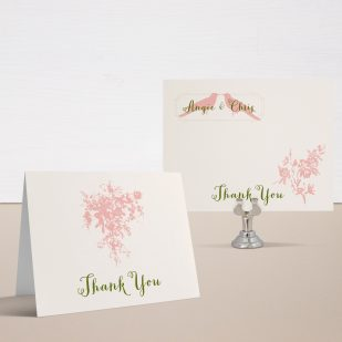 Peach Love Birds Thank You Cards