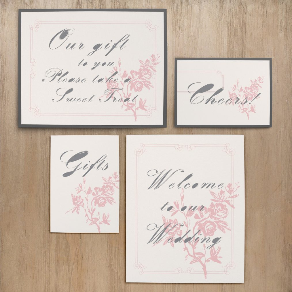 Pink and Gray Loves Lace Custom Signs