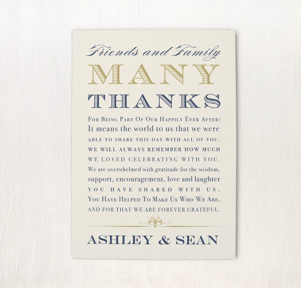 Elegant Navy Script Reception Thank You