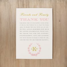 Gold and Blush Monogram Reception Thank Yous