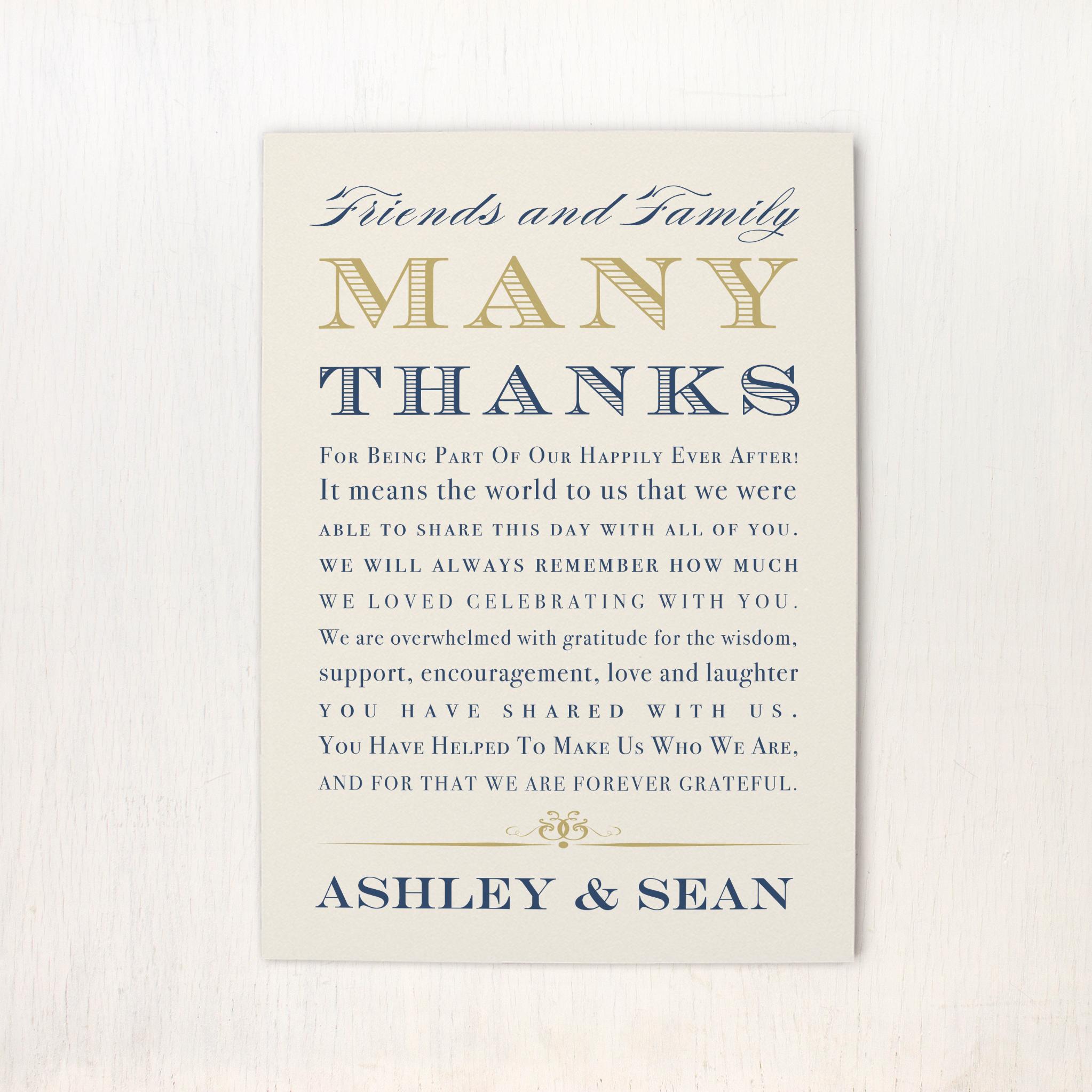 Elegant Navy Script Reception Thank Yous