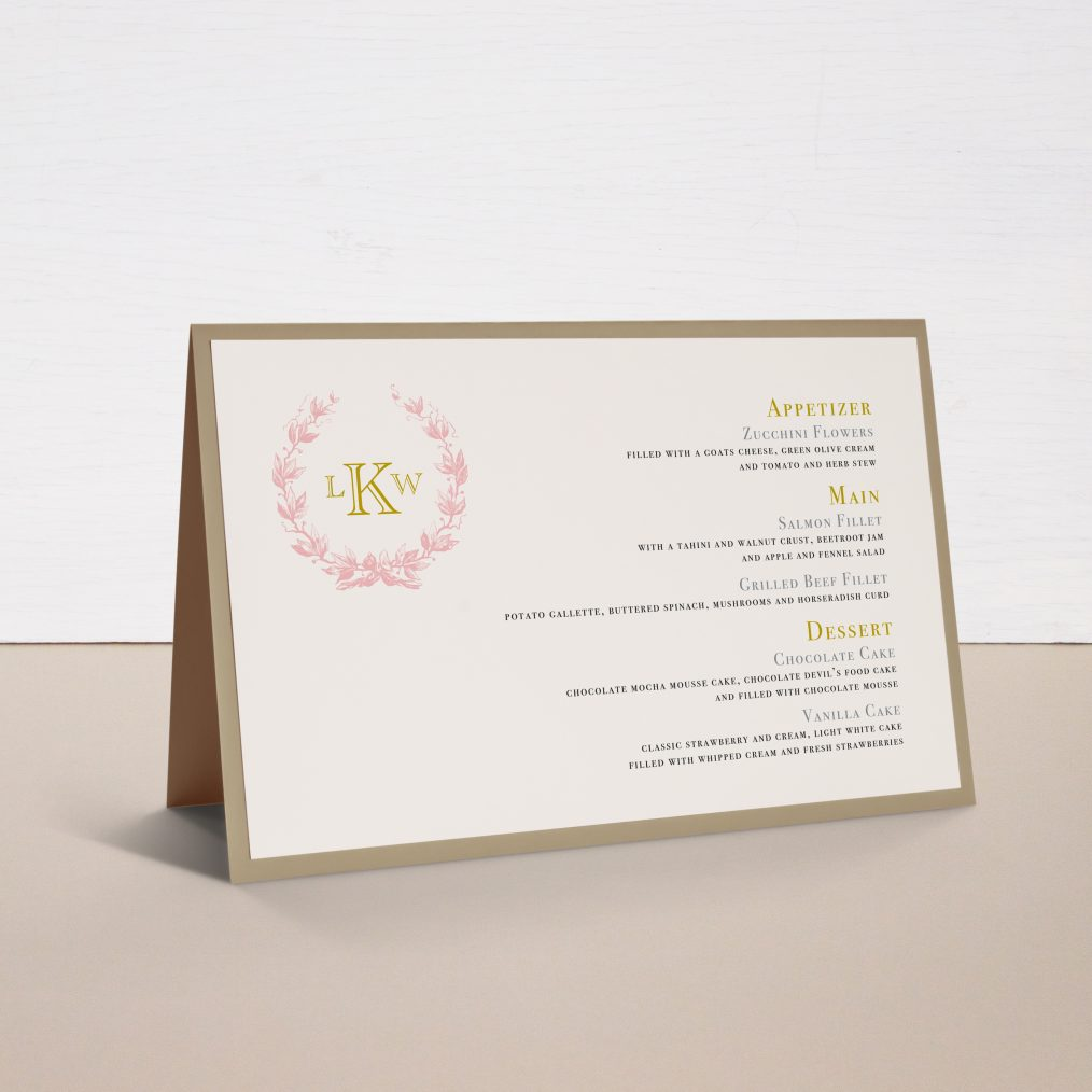 Gold and Blush Monogram Tented Menu Cards
