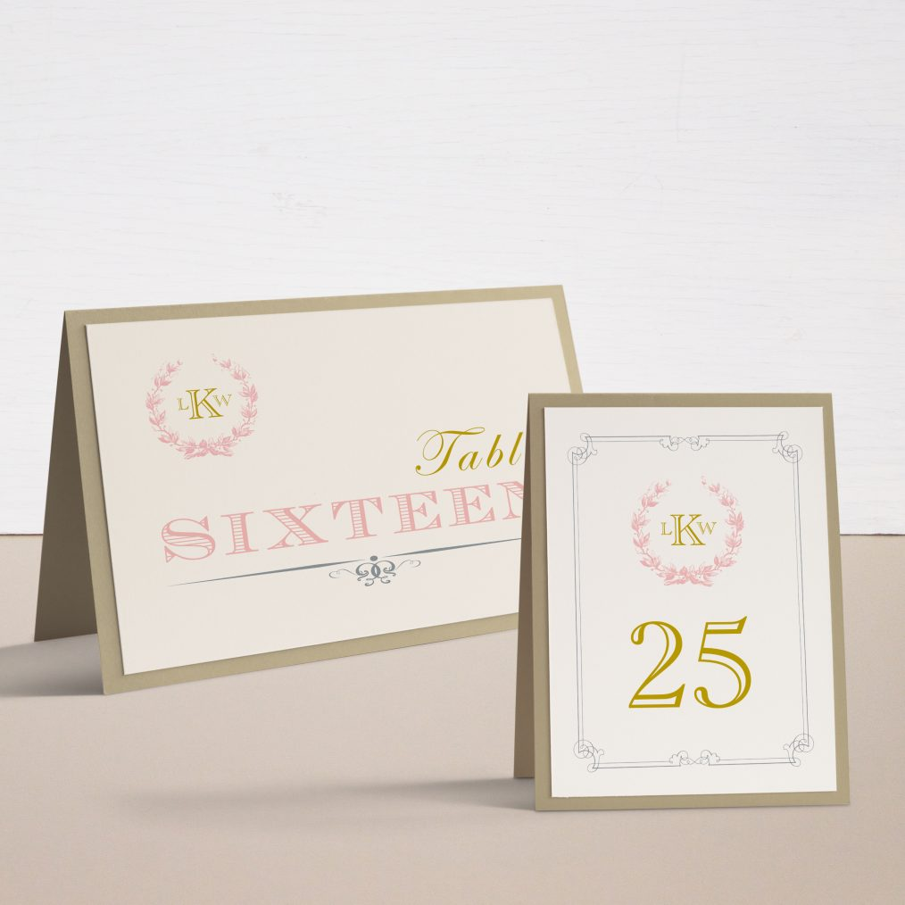 Gold and Blush Monogram Tented Table Numbers