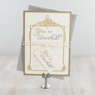 Antique Glitter Fill in the Blank Invitations