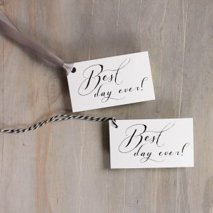 Black Script Favor Tags