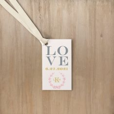 Gold and Blush Monogram Favor Tags