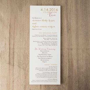 Gold & Glitter Flat Ceremony Programs