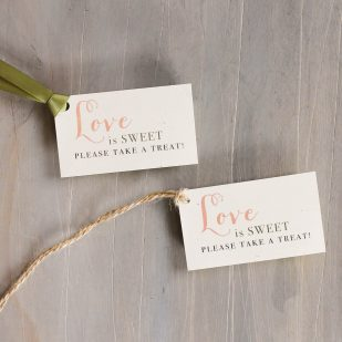 Peach Love Birds Favor Tags