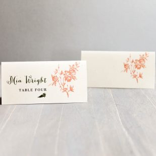 Peach Love Birds Place and Escort Cards
