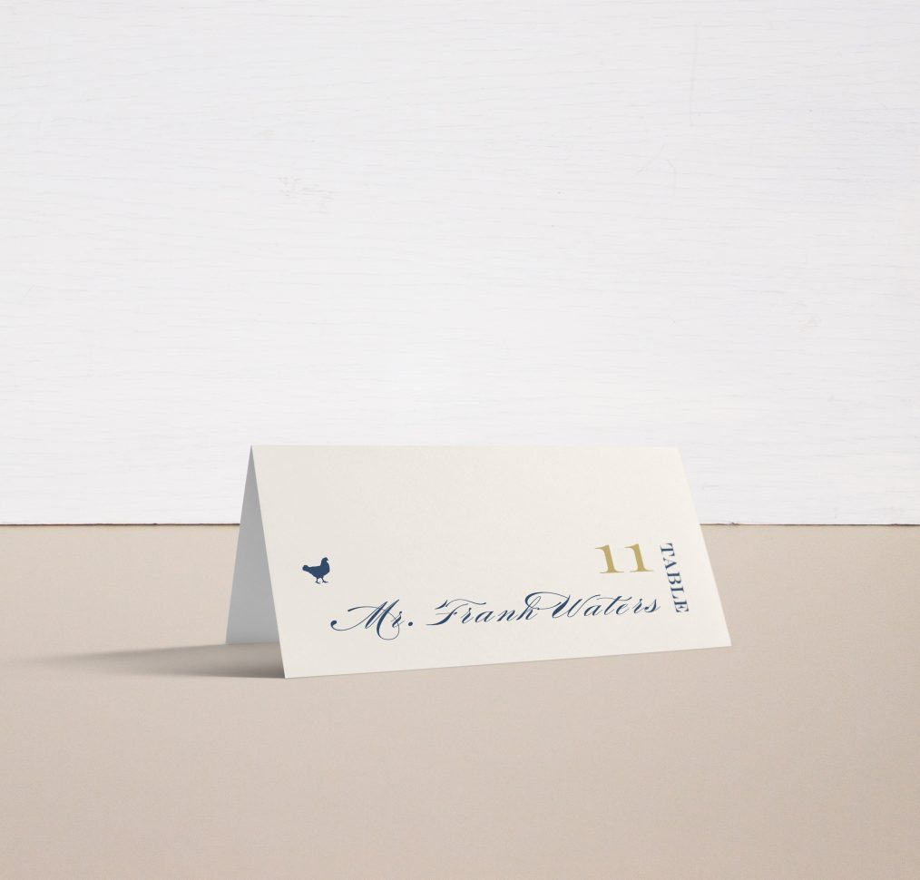 Elegant Navy Script Place and Escort Cards