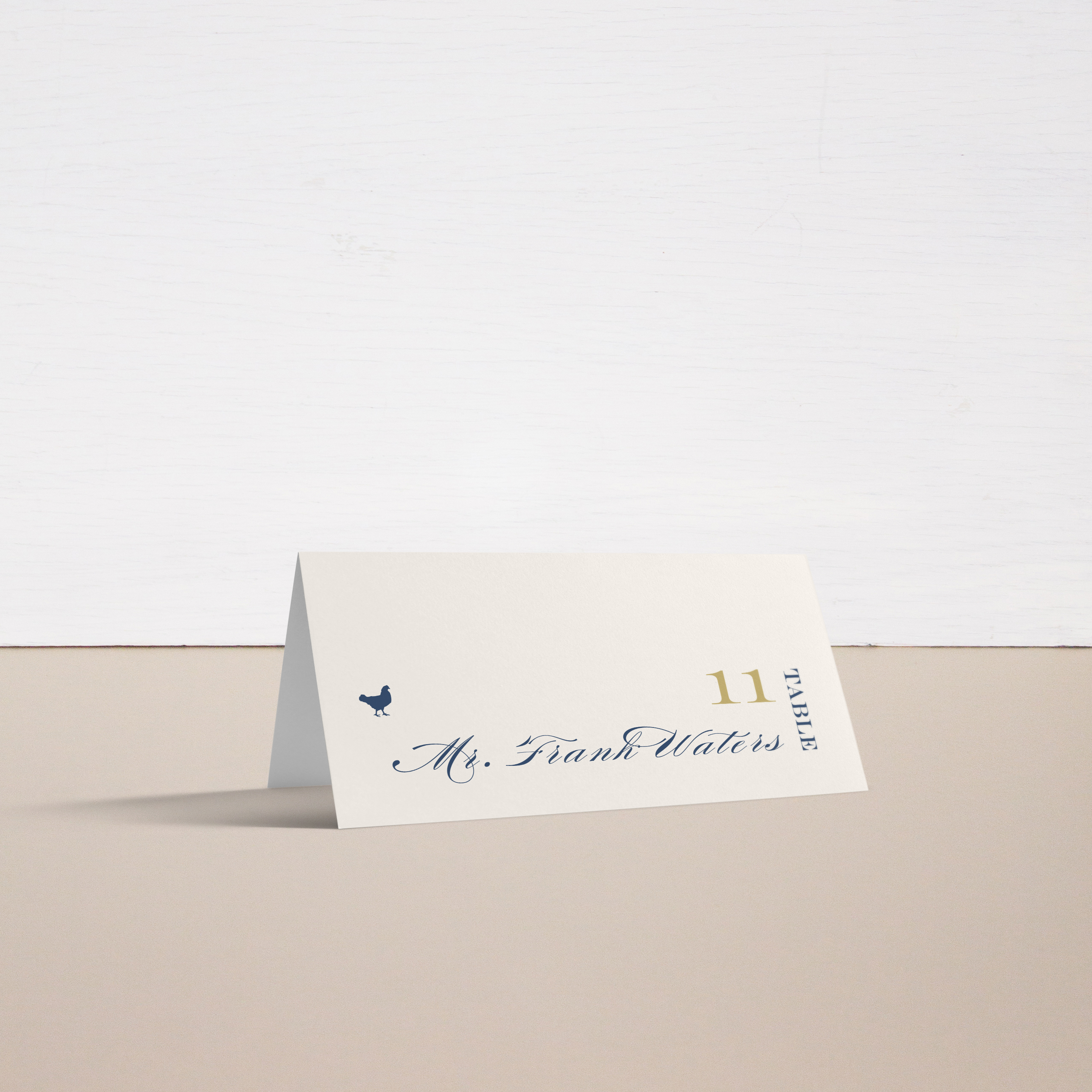 Elegant Navy Script Place and Escort Cards