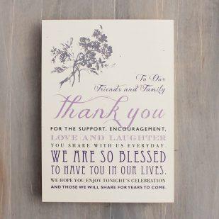 Purple Charmer Reception Thank Yous