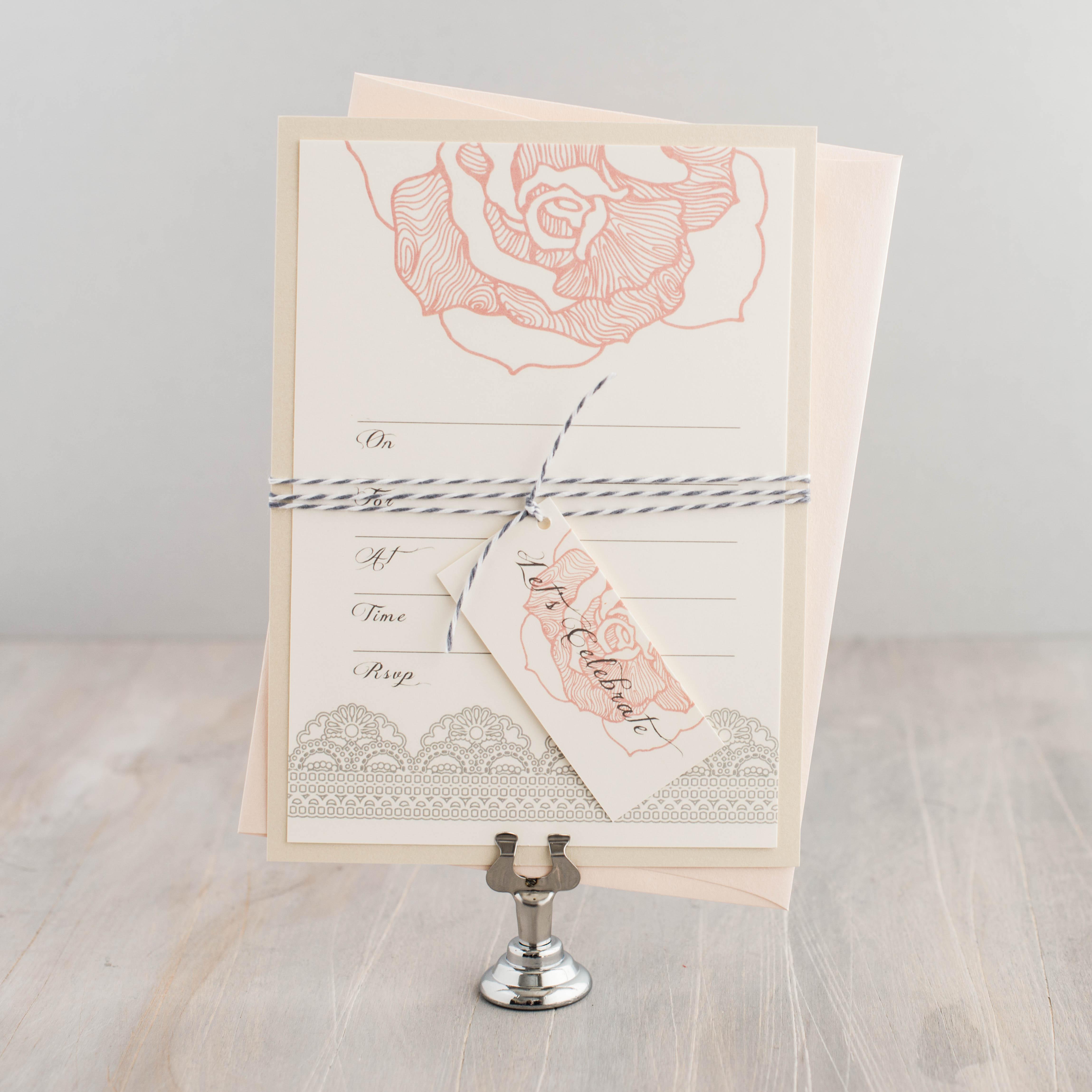 Ruffled Romance Fill In The Blank Wedding Invitations   Beacon Lane