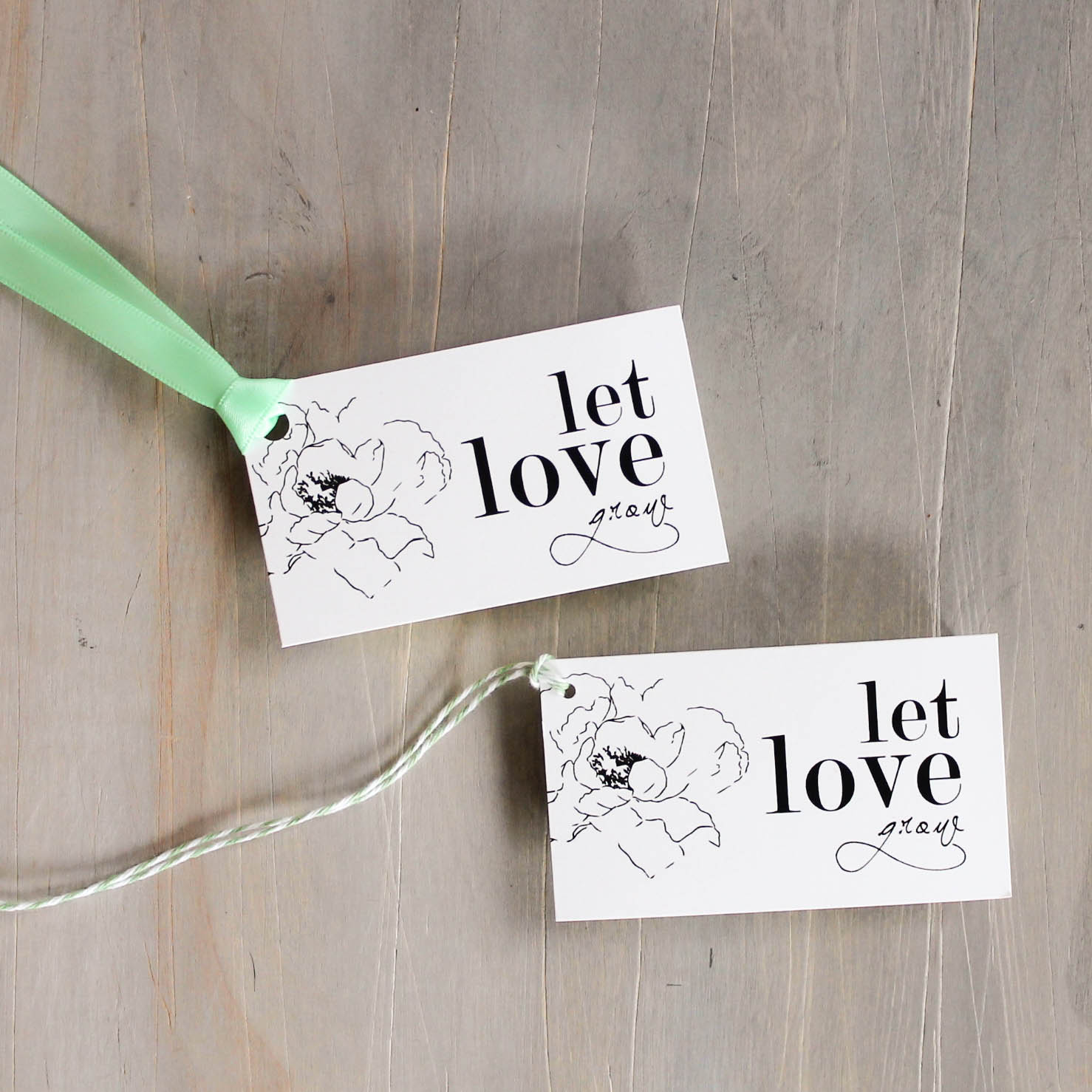 Simple Green Customizable Mint & White Wedding Favor Tags | Beacon Lane