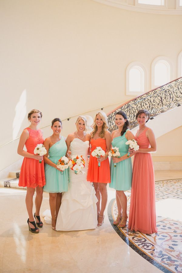 Coral aqua beach wedding featured on style me pretty for Coral bridesmaid dresses for beach wedding