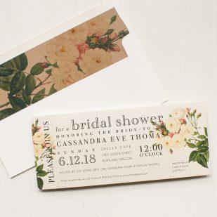 Navy Garden Rose Bridal Shower Invitations