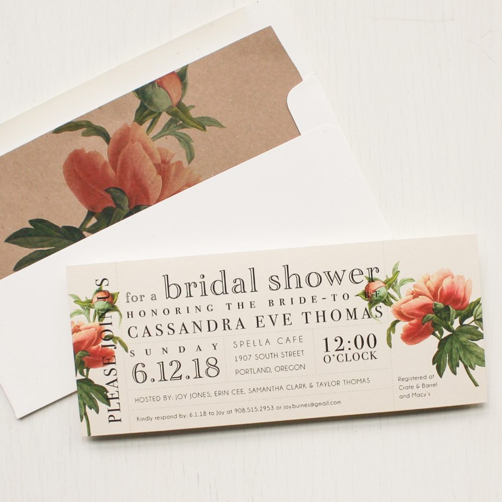 Ivory and Coral Bridal Shower Invitations