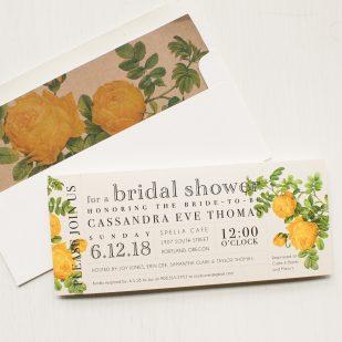 Yellow Garden Rose Bridal Shower Invitations